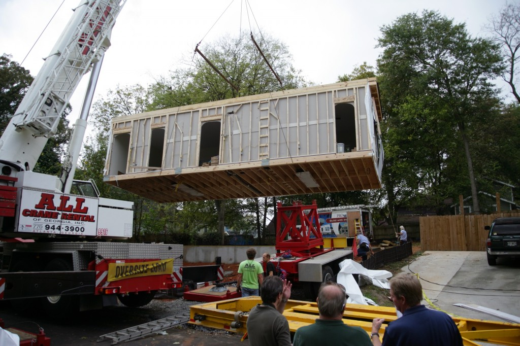 This New Old Green Modular Home was set in one day